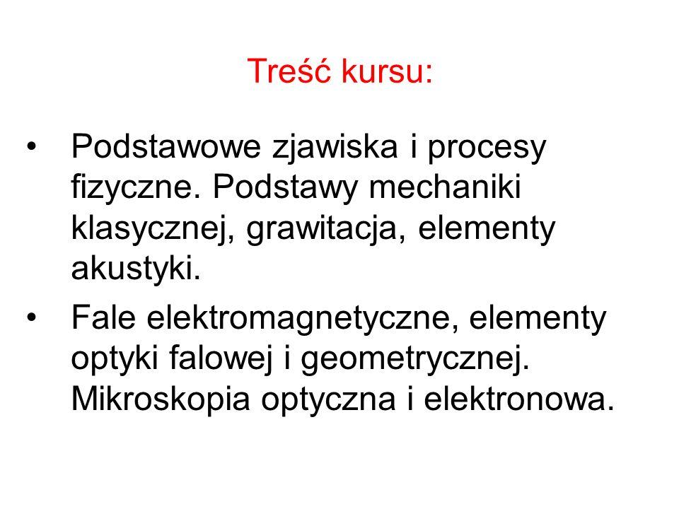 Treść kursu: Podstawowe zjawiska i procesy fizyczne. Podstawy mechaniki klasycznej, grawitacja, elementy akustyki. Fale elektromagnetyczne, elementy o