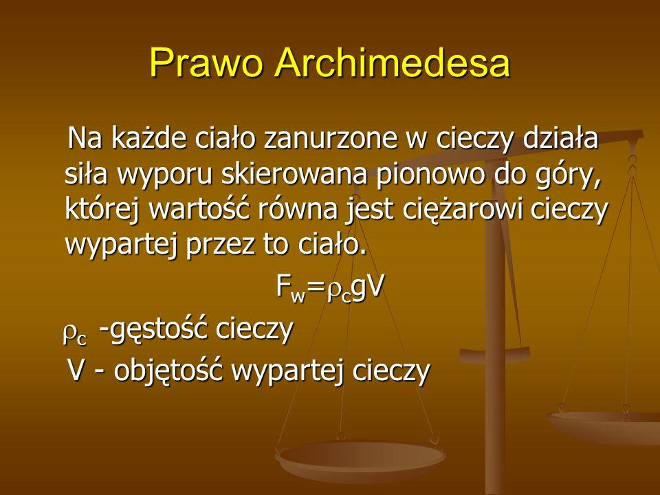 Prawo Archimedesa Na każde ciało zanurzone w cieczy działa siła wyporu skierowana pionowo do góry, której wartość równa jest ciężarowi cieczy wypartej