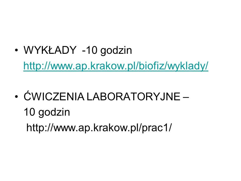 WYKŁADY -10 godzin http://www.ap.krakow.pl/biofiz/wyklady/ ĆWICZENIA LABORATORYJNE – 10 godzin http://www.ap.krakow.pl/prac1/