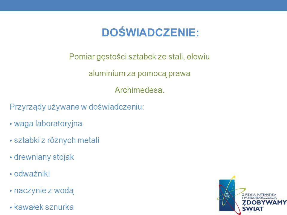 DOŚWIADCZENIE: Pomiar gęstości sztabek ze stali, ołowiu aluminium za pomocą prawa Archimedesa. Przyrządy używane w doświadczeniu: waga laboratoryjna s