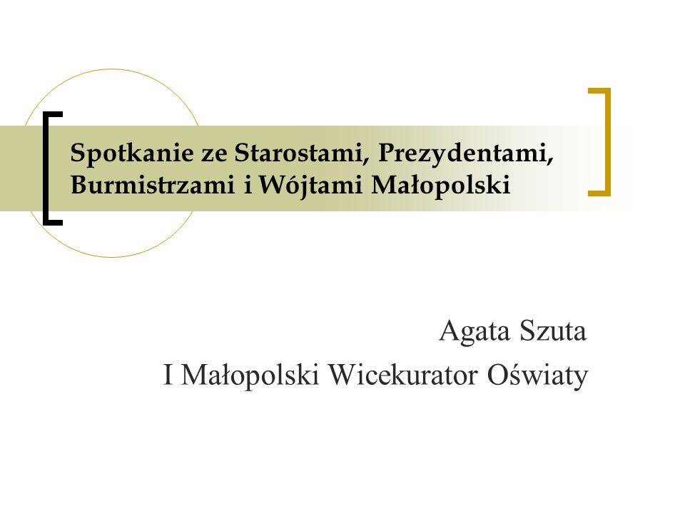 Spotkanie ze Starostami, Prezydentami, Burmistrzami i Wójtami Małopolski Agata Szuta I Małopolski Wicekurator Oświaty