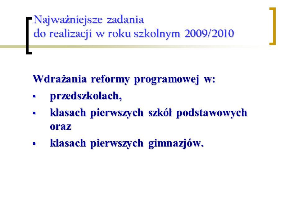 Najwa ż niejsze zadania do realizacji w roku szkolnym 2009/2010 Wdrażania reformy programowej w: przedszkolach, przedszkolach, klasach pierwszych szkół podstawowych oraz klasach pierwszych szkół podstawowych oraz klasach pierwszych gimnazjów.