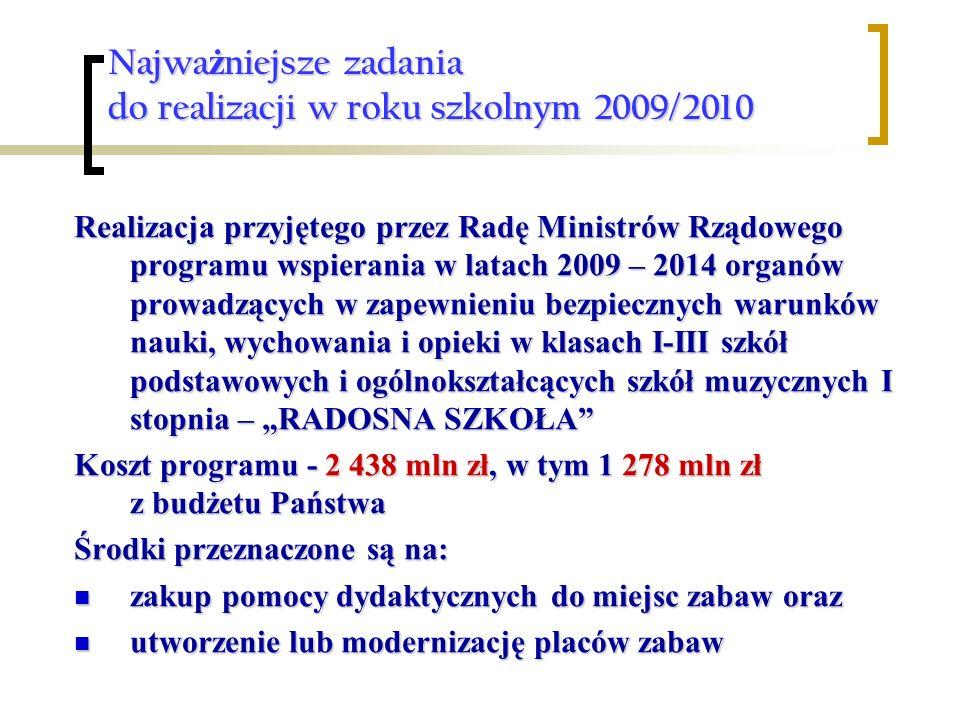 Najwa ż niejsze zadania do realizacji w roku szkolnym 2009/2010 Realizacja przyjętego przez Radę Ministrów Rządowego programu wspierania w latach 2009