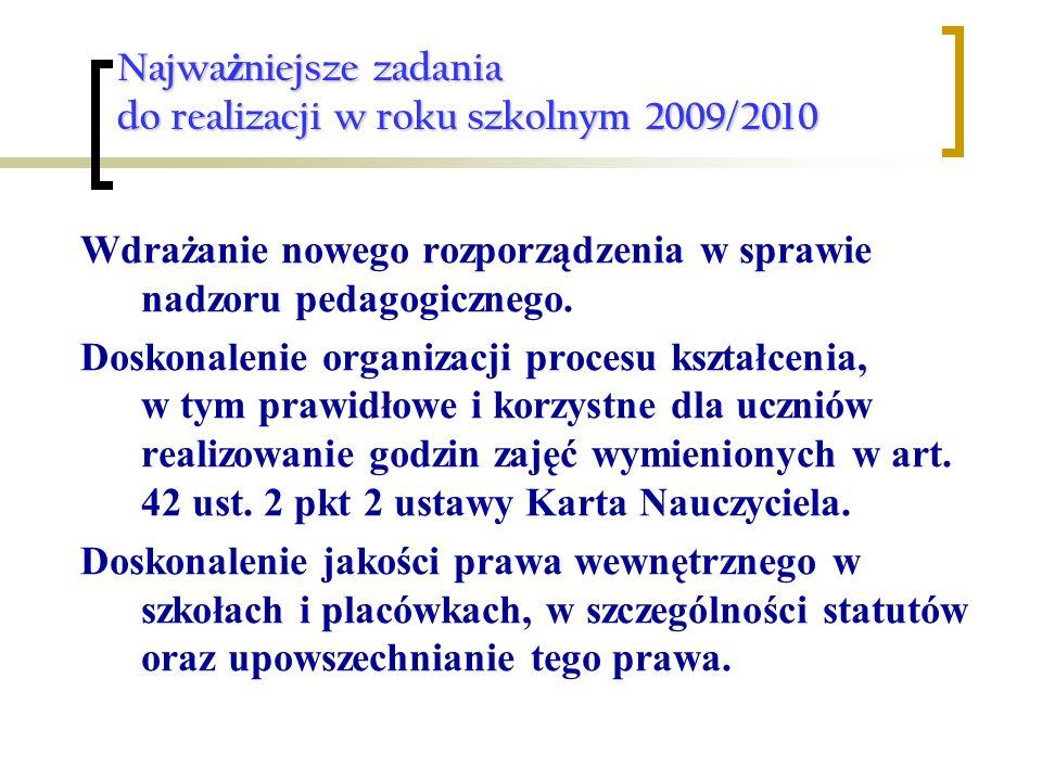 Najwa ż niejsze zadania do realizacji w roku szkolnym 2009/2010 Wdrażanie nowego rozporządzenia w sprawie nadzoru pedagogicznego. Doskonalenie organiz