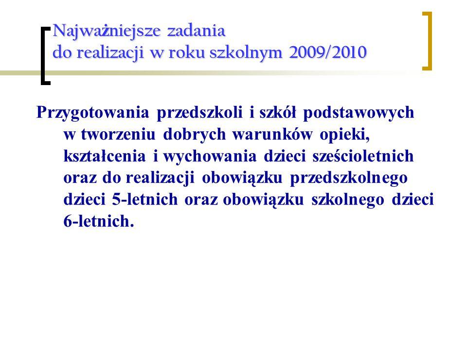 Najwa ż niejsze zadania do realizacji w roku szkolnym 2009/2010 Przygotowania przedszkoli i szkół podstawowych w tworzeniu dobrych warunków opieki, ks
