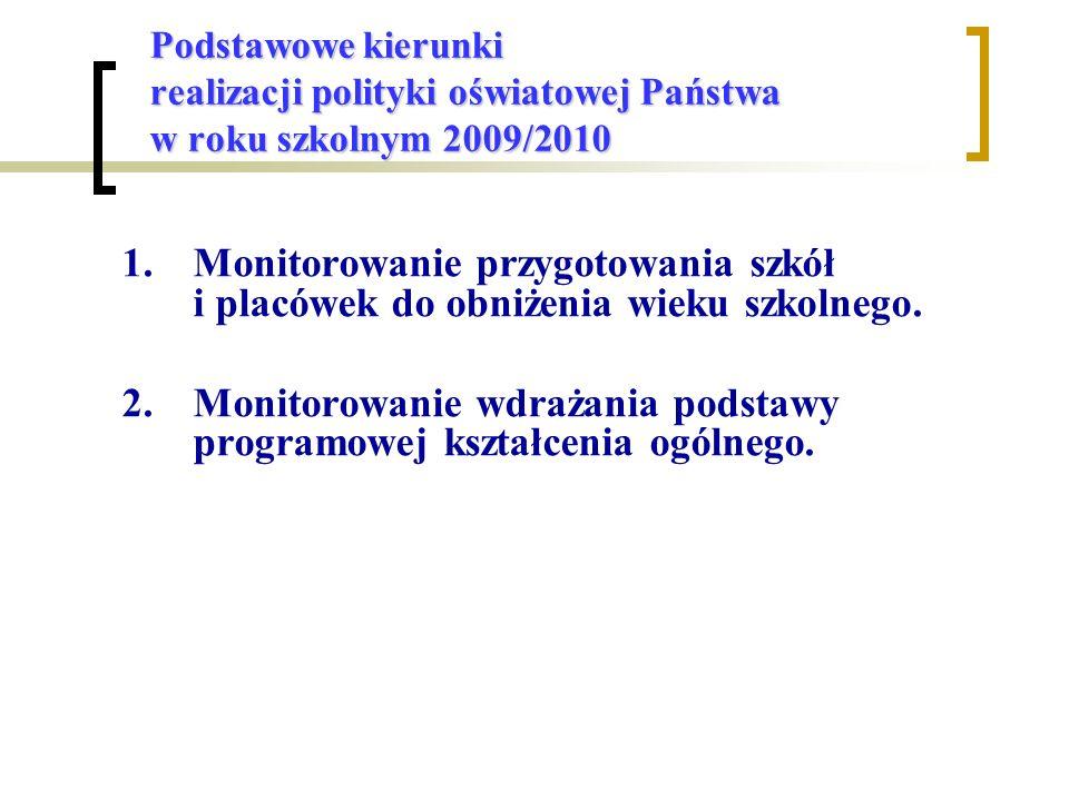 Podstawowe kierunki realizacji polityki oświatowej Państwa w roku szkolnym 2009/2010 1.Monitorowanie przygotowania szkół i placówek do obniżenia wieku szkolnego.