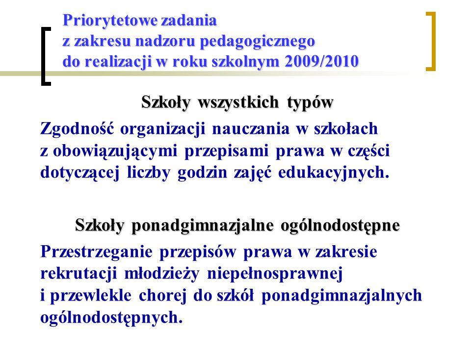 Priorytetowe zadania z zakresu nadzoru pedagogicznego do realizacji w roku szkolnym 2009/2010 Szkoły wszystkich typów Zgodność organizacji nauczania w szkołach z obowiązującymi przepisami prawa w części dotyczącej liczby godzin zajęć edukacyjnych.