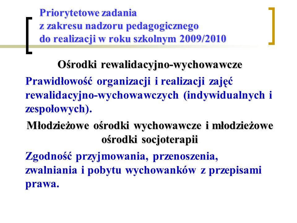 Priorytetowe zadania z zakresu nadzoru pedagogicznego do realizacji w roku szkolnym 2009/2010 Ośrodki rewalidacyjno-wychowawcze Prawidłowość organizacji i realizacji zajęć rewalidacyjno-wychowawczych (indywidualnych i zespołowych).