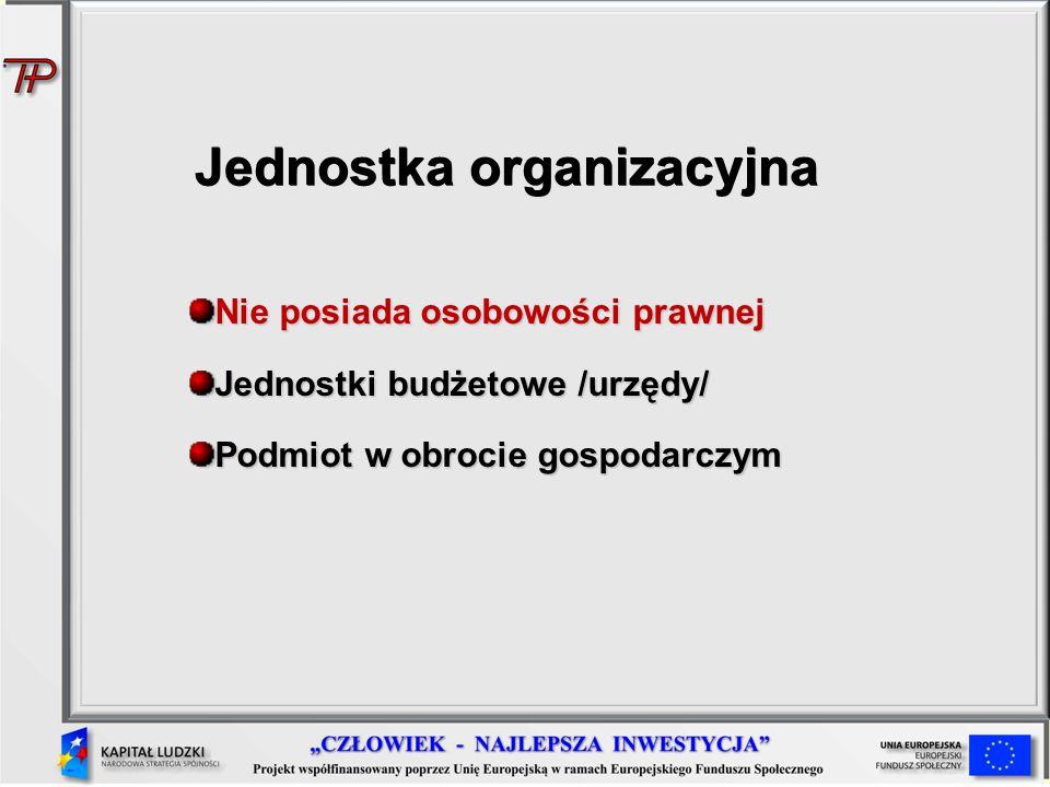 Jednostka organizacyjna Nie posiada osobowości prawnej Jednostki budżetowe /urzędy/ Podmiot w obrocie gospodarczym