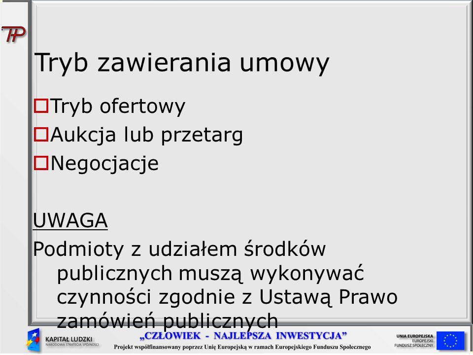 Tryb zawierania umowy Tryb ofertowy Aukcja lub przetarg Negocjacje UWAGA Podmioty z udziałem środków publicznych muszą wykonywać czynności zgodnie z U