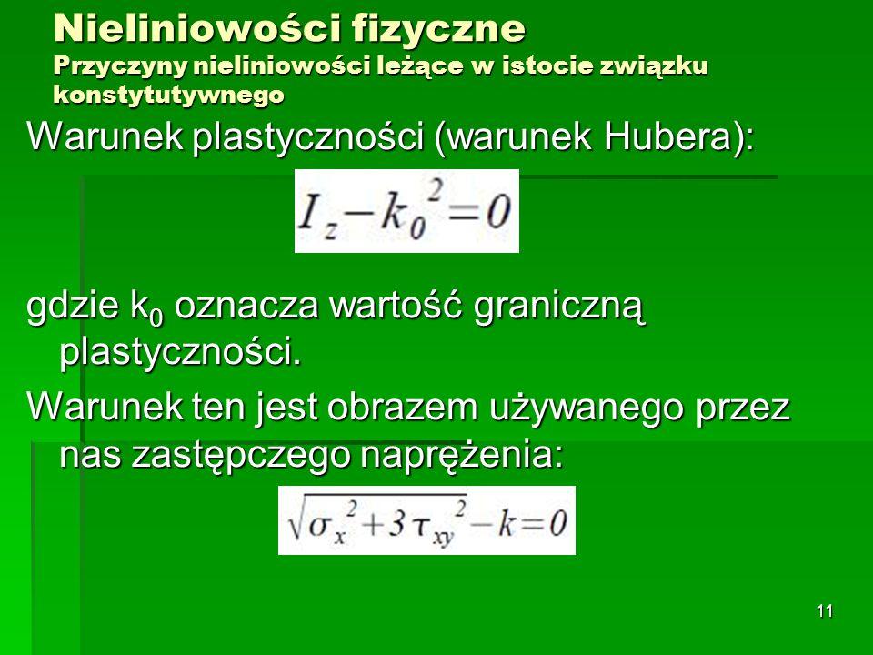 Nieliniowości fizyczne Przyczyny nieliniowości leżące w istocie związku konstytutywnego Warunek plastyczności (warunek Hubera): gdzie k 0 oznacza wart