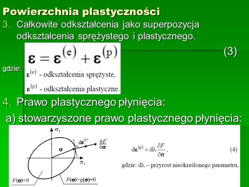 Powierzchnia plastyczności 3.Całkowite odkształcenia jako superpozycja odkształcenia sprężystego i plastycznego. (3) (3) gdzie: 4.Prawo plastycznego p