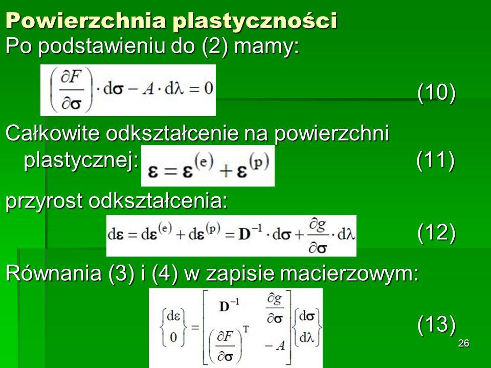 Powierzchnia plastyczności Po podstawieniu do (2) mamy: (10) (10) Całkowite odkształcenie na powierzchni plastycznej: (11) przyrost odkształcenia: (12