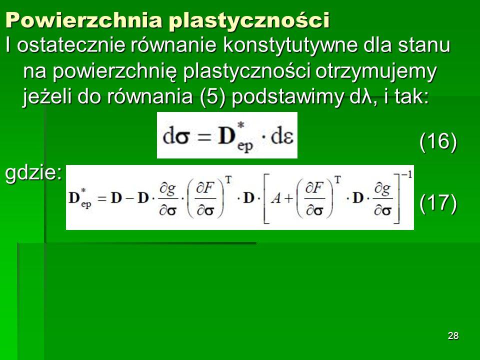 Powierzchnia plastyczności I ostatecznie równanie konstytutywne dla stanu na powierzchnię plastyczności otrzymujemy jeżeli do równania (5) podstawimy