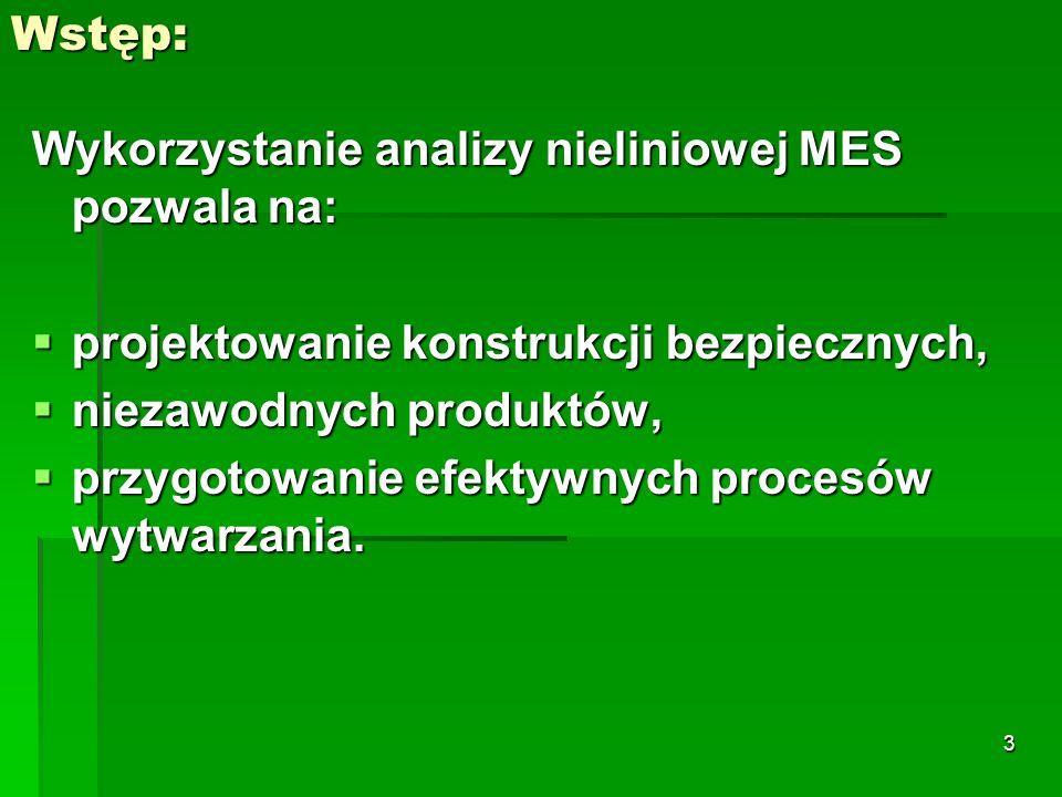Wykorzystanie analizy nieliniowej MES pozwala na: projektowanie konstrukcji bezpiecznych, projektowanie konstrukcji bezpiecznych, niezawodnych produkt