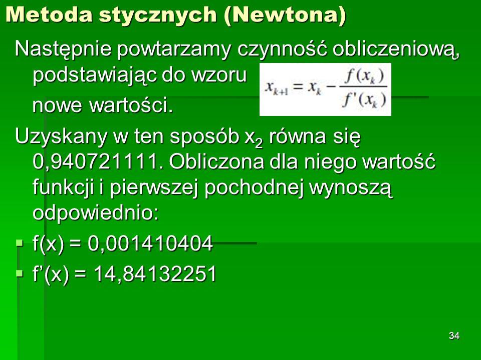 Metoda stycznych (Newtona) Następnie powtarzamy czynność obliczeniową, podstawiając do wzoru nowe wartości. nowe wartości. Uzyskany w ten sposób x 2 r
