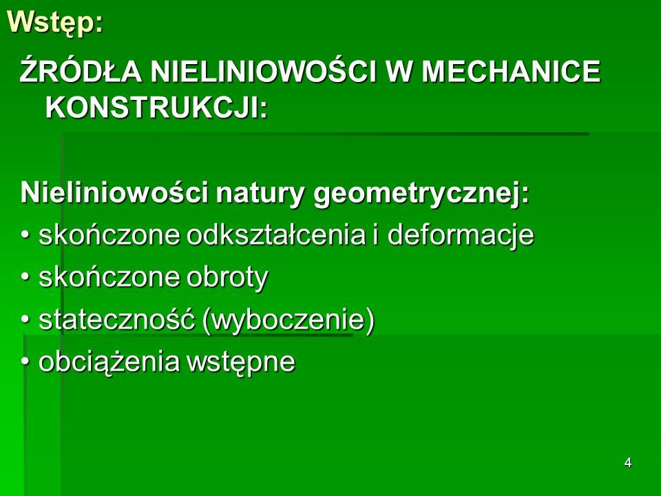 Nieliniowości materiałowe: plastyczność, uszkodzenie materiału i mechanizmy zniszczenia, plastyczność, uszkodzenie materiału i mechanizmy zniszczenia, zależność właściwości materiałów od temperatury, zmiennych stanu oraz zmiennych zależnych od rozwiązań.