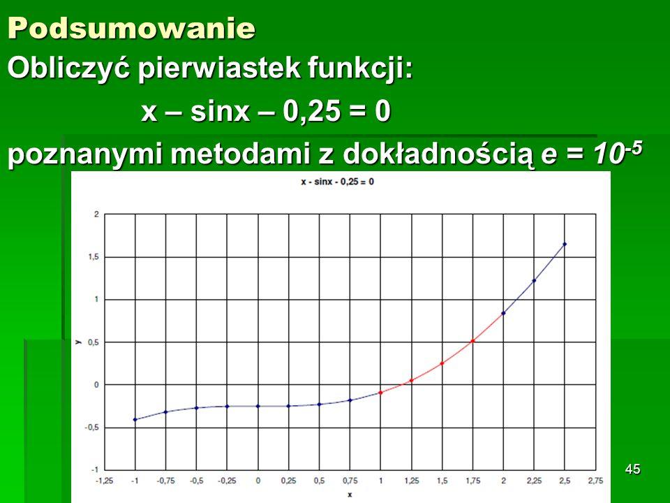 Podsumowanie Obliczyć pierwiastek funkcji: x – sinx – 0,25 = 0 poznanymi metodami z dokładnością e = 10 -5 45