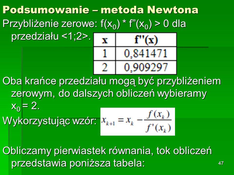 Podsumowanie – metoda Newtona Przybliżenie zerowe: f(x 0 ) * f(x 0 ) > 0 dla przedziału. Oba krańce przedziału mogą być przybliżeniem zerowym, do dals