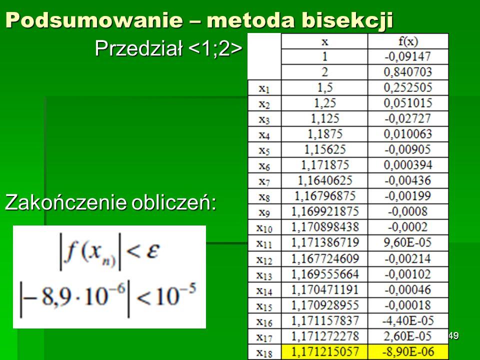 Podsumowanie – metoda bisekcji Przedział Przedział Zakończenie obliczeń: 49