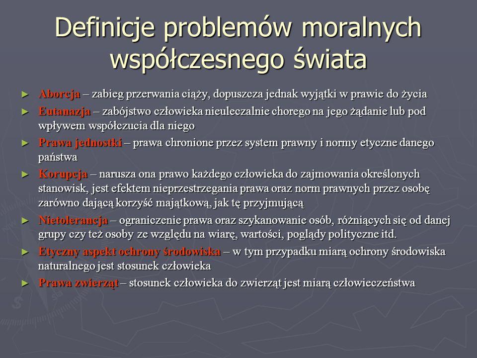 Definicje problemów moralnych współczesnego świata Aborcja – zabieg przerwania ciąży, dopuszcza jednak wyjątki w prawie do życia Aborcja – zabieg prze