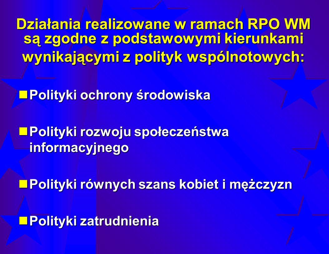 Działania realizowane w ramach RPO WM są zgodne z podstawowymi kierunkami wynikającymi z polityk wspólnotowych: Polityki ochrony środowiska Polityki o