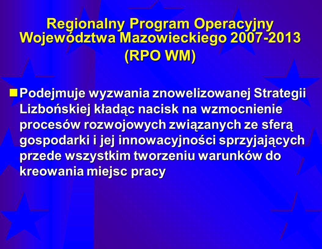 Regionalny Program Operacyjny Województwa Mazowieckiego 2007-2013 (RPO WM) Podejmuje wyzwania znowelizowanej Strategii Lizbońskiej kładąc nacisk na wz