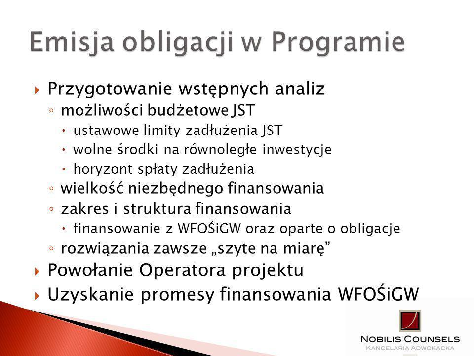Przygotowanie wstępnych analiz możliwości budżetowe JST ustawowe limity zadłużenia JST wolne środki na równoległe inwestycje horyzont spłaty zadłużenia wielkość niezbędnego finansowania zakres i struktura finansowania finansowanie z WFOŚiGW oraz oparte o obligacje rozwiązania zawsze szyte na miarę Powołanie Operatora projektu Uzyskanie promesy finansowania WFOŚiGW