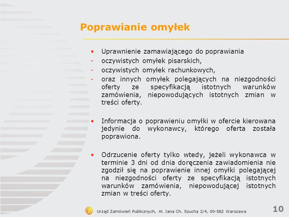 10 Urząd Zamówień Publicznych, Al. Jana Ch.