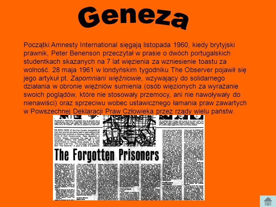 Początki Amnesty International sięgają listopada 1960, kiedy brytyjski prawnik, Peter Benenson przeczytał w prasie o dwóch portugalskich studentkach s