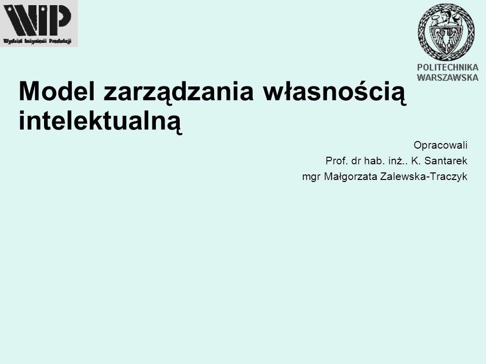 Model zarządzania własnością intelektualną Opracowali Prof. dr hab. inż.. K. Santarek mgr Małgorzata Zalewska-Traczyk