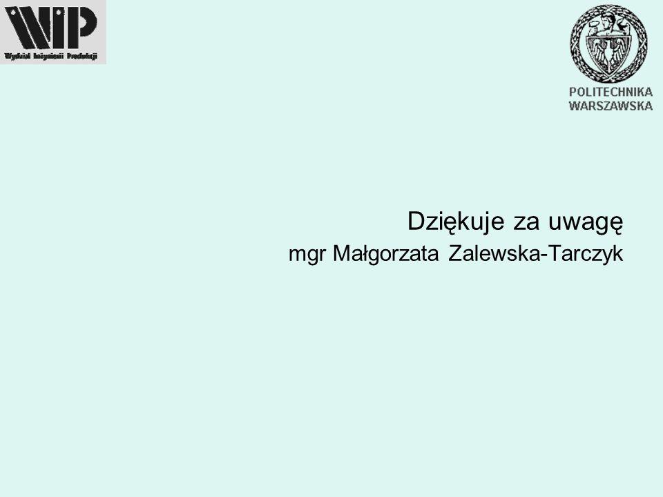 Dziękuje za uwagę mgr Małgorzata Zalewska-Tarczyk