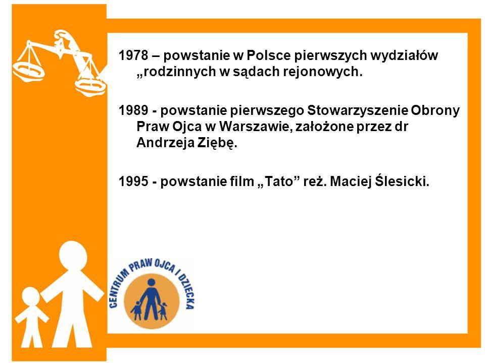 1978 – powstanie w Polsce pierwszych wydziałów rodzinnych w sądach rejonowych. 1989 - powstanie pierwszego Stowarzyszenie Obrony Praw Ojca w Warszawie