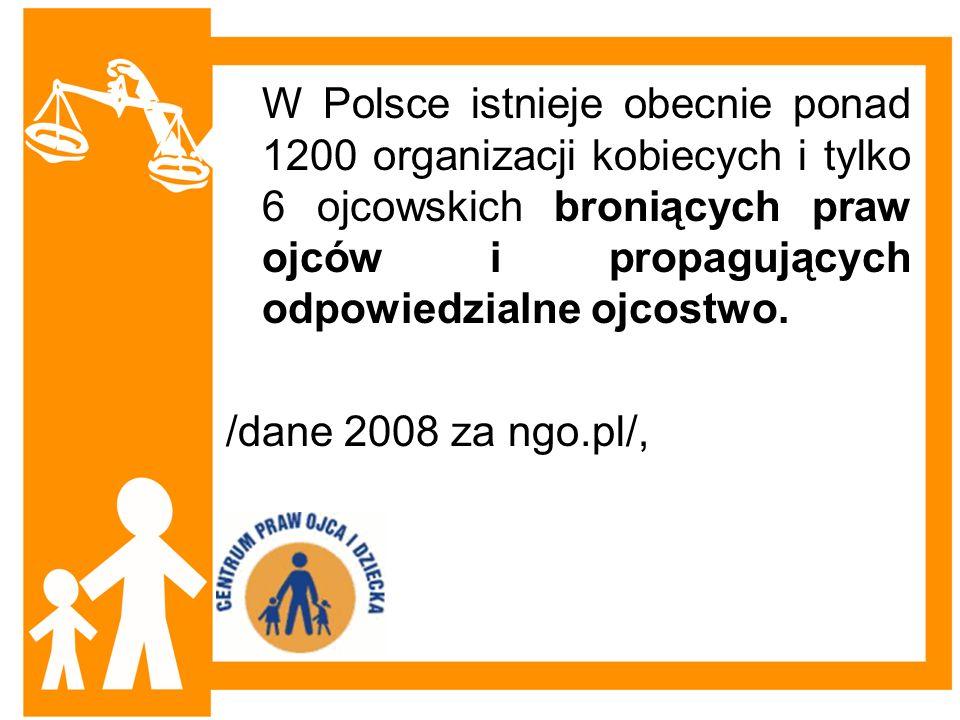 W Polsce istnieje obecnie ponad 1200 organizacji kobiecych i tylko 6 ojcowskich broniących praw ojców i propagujących odpowiedzialne ojcostwo. /dane 2