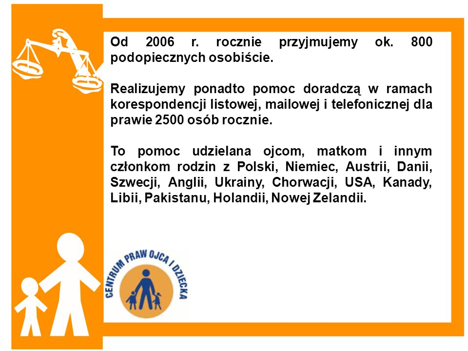 Od 2006 r. rocznie przyjmujemy ok. 800 podopiecznych osobiście. Realizujemy ponadto pomoc doradczą w ramach korespondencji listowej, mailowej i telefo