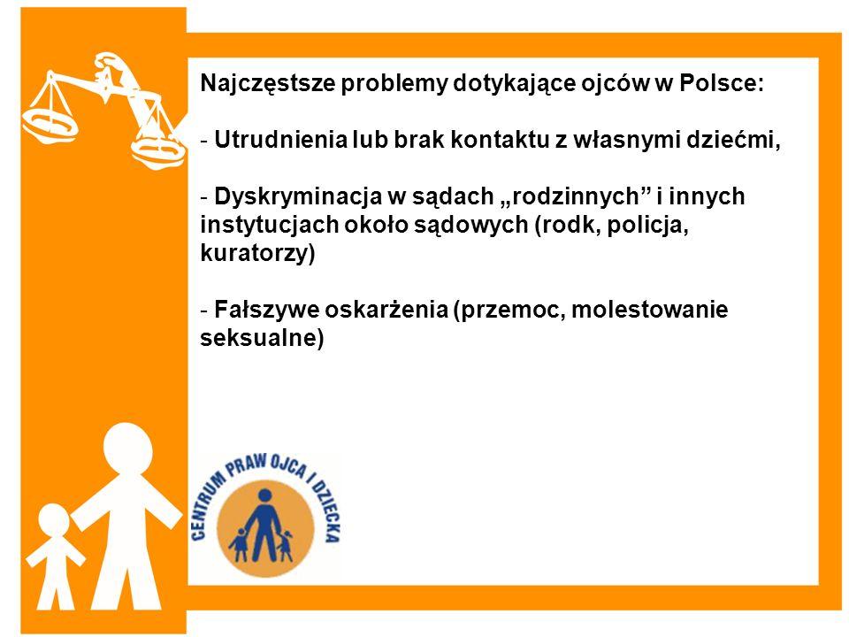 Najczęstsze problemy dotykające ojców w Polsce: - Utrudnienia lub brak kontaktu z własnymi dziećmi, - Dyskryminacja w sądach rodzinnych i innych insty