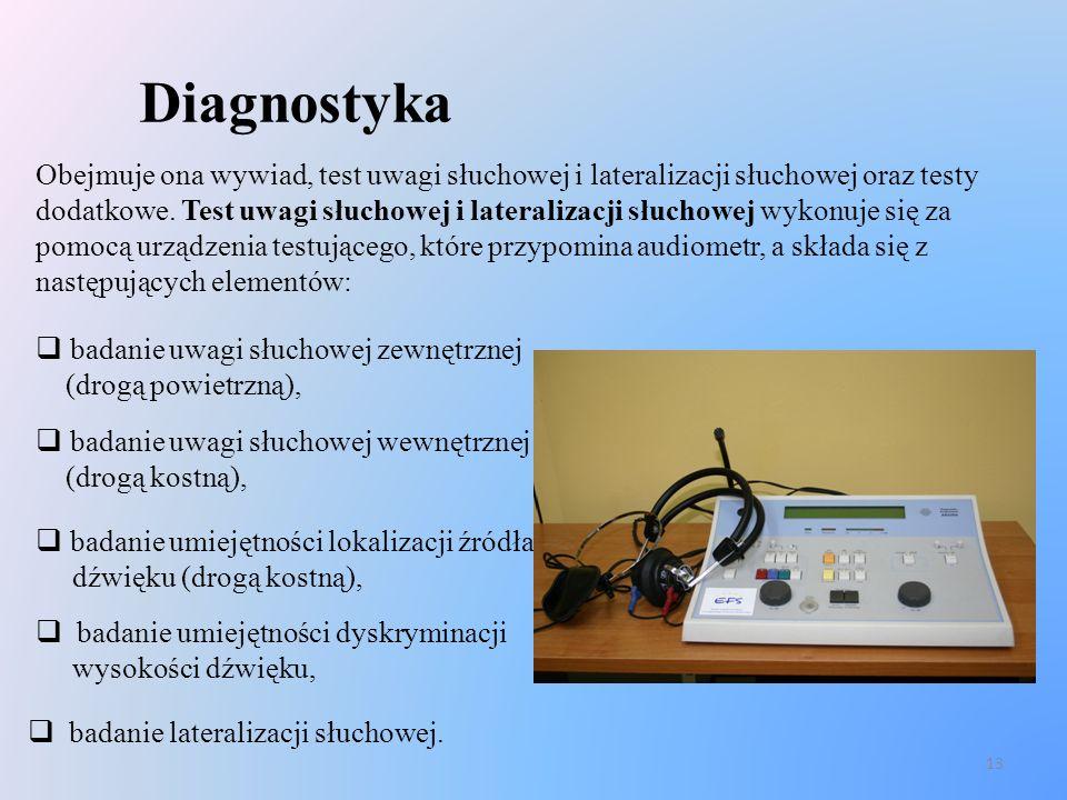13 Diagnostyka Obejmuje ona wywiad, test uwagi słuchowej i lateralizacji słuchowej oraz testy dodatkowe. Test uwagi słuchowej i lateralizacji słuchowe