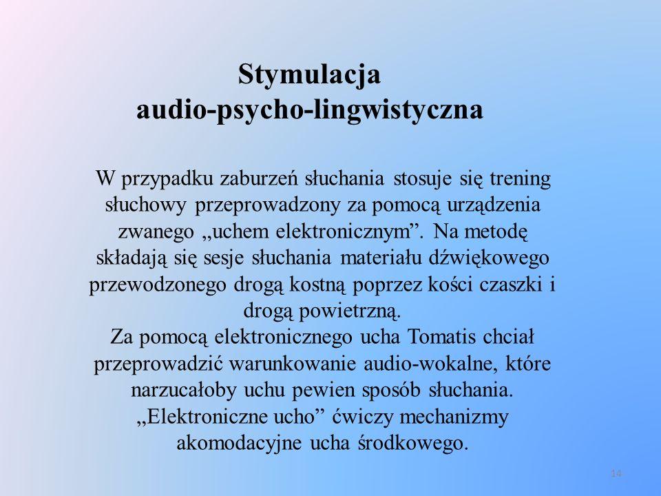 14 Stymulacja audio-psycho-lingwistyczna W przypadku zaburzeń słuchania stosuje się trening słuchowy przeprowadzony za pomocą urządzenia zwanego uchem