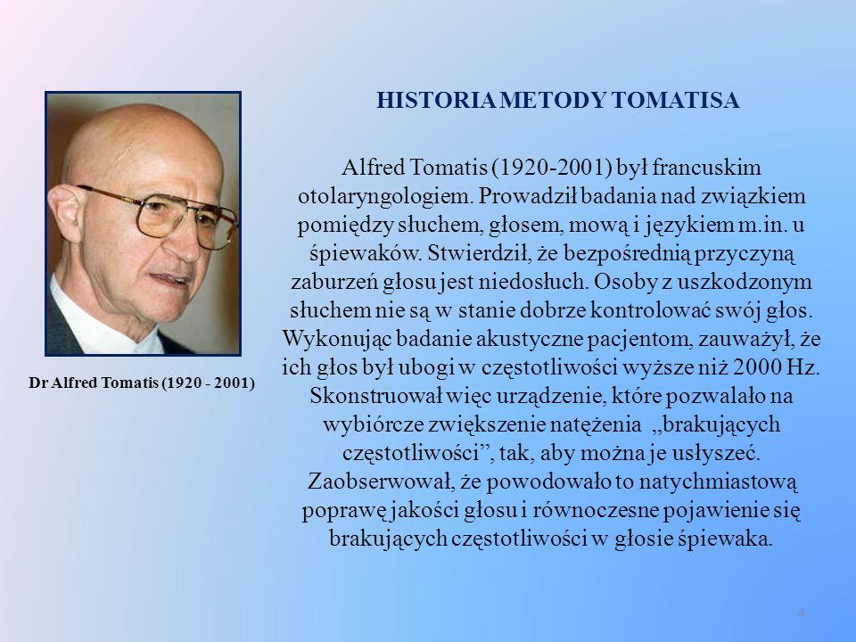 HISTORIA METODY TOMATISA Alfred Tomatis (1920-2001) był francuskim otolaryngologiem. Prowadził badania nad związkiem pomiędzy słuchem, głosem, mową i