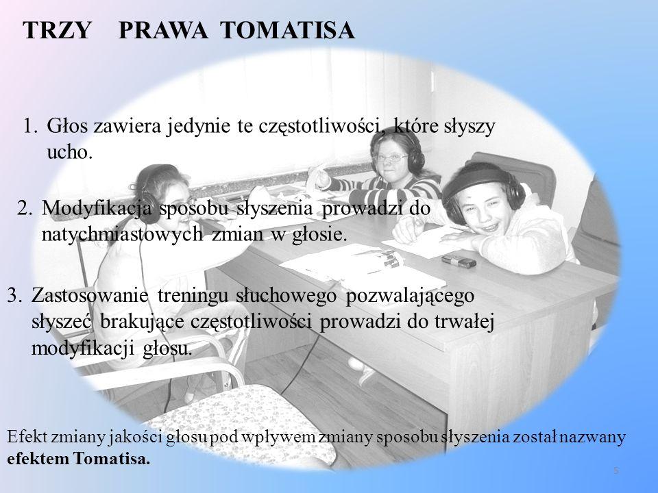 TRZY PRAWA TOMATISA 1.Głos zawiera jedynie te częstotliwości, które słyszy ucho. 2.Modyfikacja sposobu słyszenia prowadzi do natychmiastowych zmian w