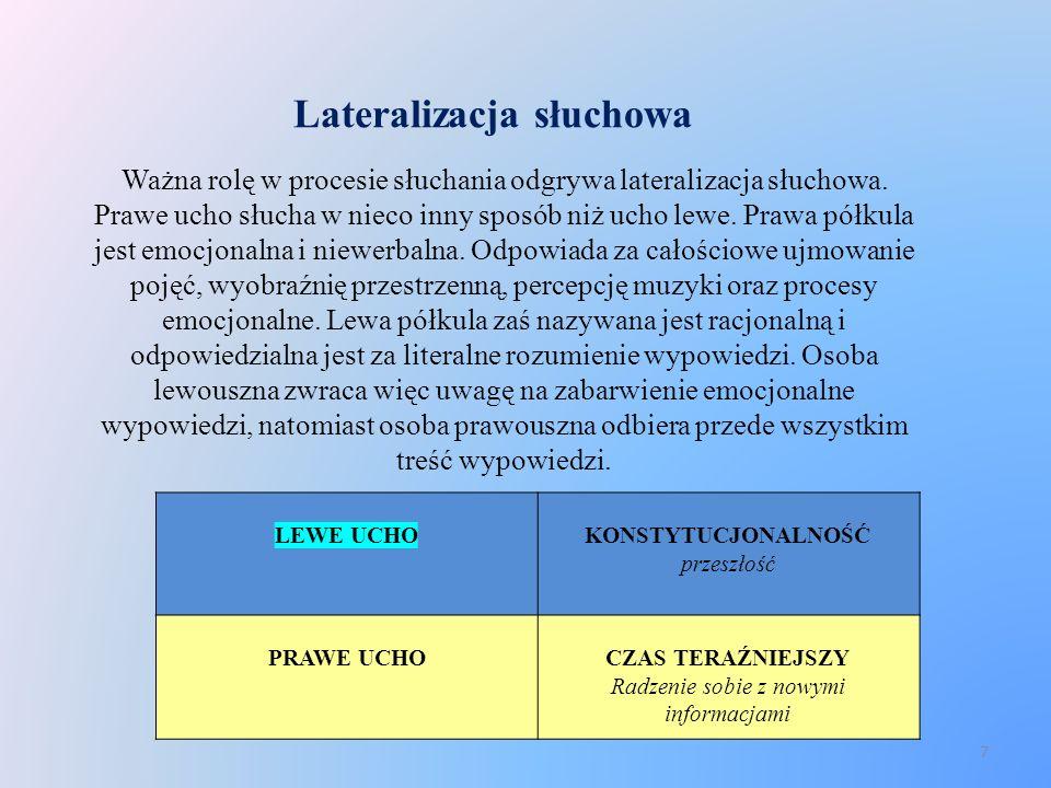 Lateralizacja słuchowa Ważna rolę w procesie słuchania odgrywa lateralizacja słuchowa. Prawe ucho słucha w nieco inny sposób niż ucho lewe. Prawa półk