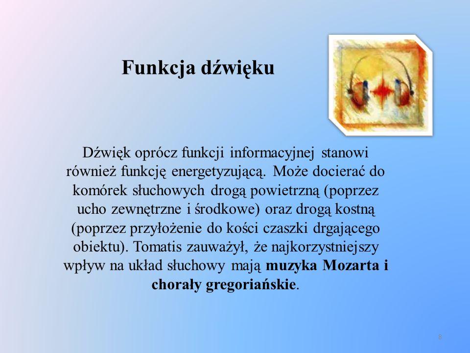 8 Funkcja dźwięku Dźwięk oprócz funkcji informacyjnej stanowi również funkcję energetyzującą. Może docierać do komórek słuchowych drogą powietrzną (po
