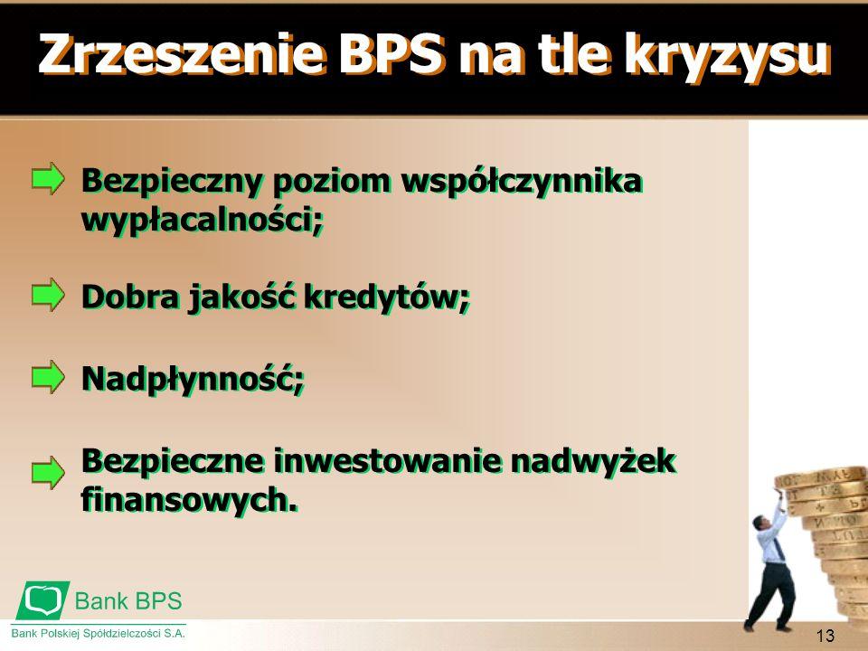 13 Zrzeszenie BPS na tle kryzysu Bezpieczny poziom współczynnika wypłacalności; Dobra jakość kredytów; Nadpłynność; Bezpieczne inwestowanie nadwyżek f
