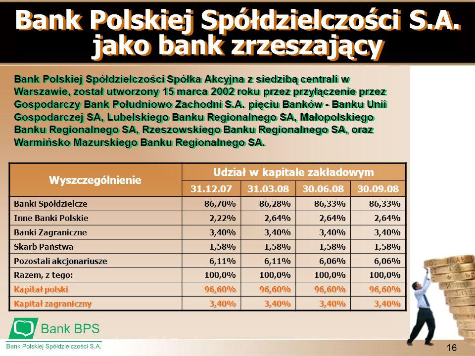 16 Bank Polskiej Spółdzielczości S.A. jako bank zrzeszający Bank Polskiej Spółdzielczości Spółka Akcyjna z siedzibą centrali w Warszawie, został utwor