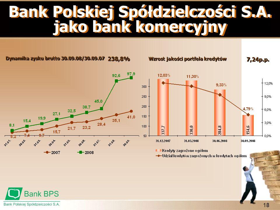18 Bank Polskiej Spółdzielczości S.A. jako bank komercyjny Dynamika zysku brutto 30.09.08/30.09.07 238,8% Wzrost jakości portfela kredytów 7,24p.p.