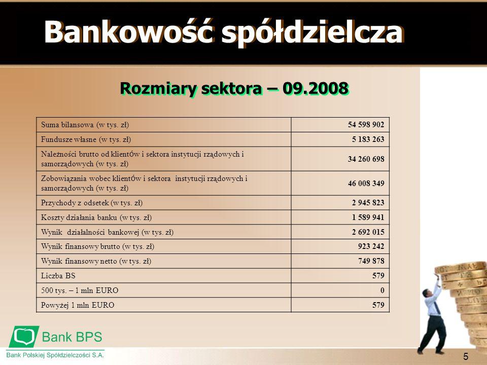 5 Bankowość spółdzielcza Rozmiary sektora – 09.2008 Suma bilansowa (w tys. zł)54 598 902 Fundusze własne (w tys. zł)5 183 263 Należności brutto od kli