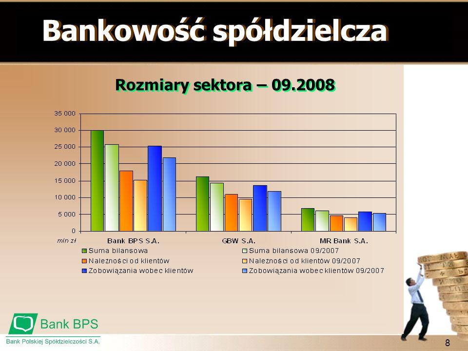 8 Bankowość spółdzielcza Rozmiary sektora – 09.2008