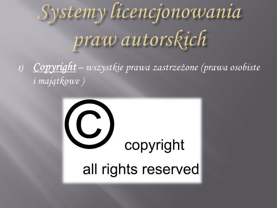 1) Copyright – wszystkie prawa zastrzeżone (prawa osobiste i majątkowe )