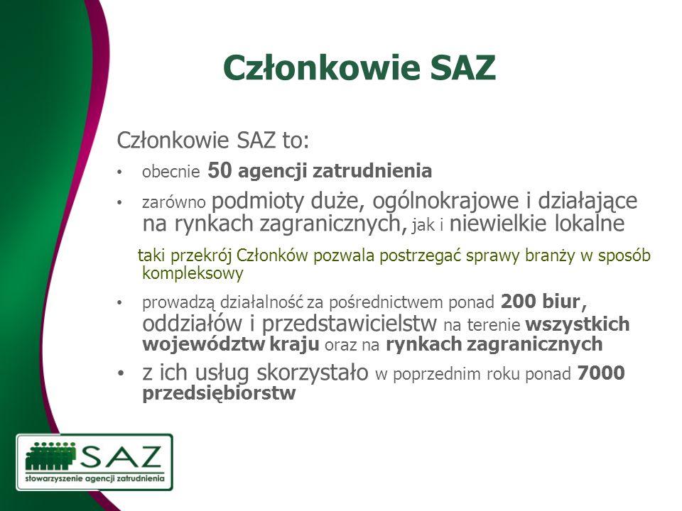 Członkowie SAZ Członkowie SAZ to: obecnie 50 agencji zatrudnienia zarówno podmioty duże, ogólnokrajowe i działające na rynkach zagranicznych, jak i ni