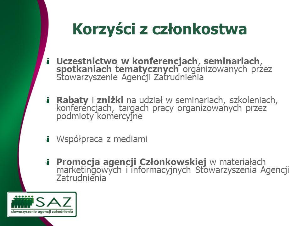 Korzyści z członkostwa Uczestnictwo w konferencjach, seminariach, spotkaniach tematycznych organizowanych przez Stowarzyszenie Agencji Zatrudnienia Ra